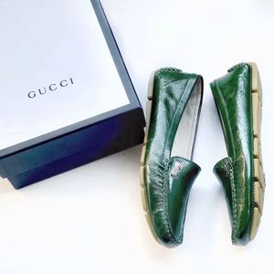 Gucci Green Leather Driving Loafer Moccasin